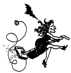 Witch flying on a vaccuum cleaner D4038