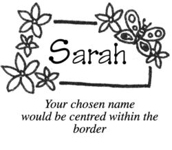 A name stamp with a flower and butterfly border C10