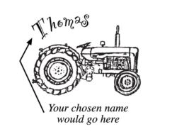 A name stamp with a tractor C4