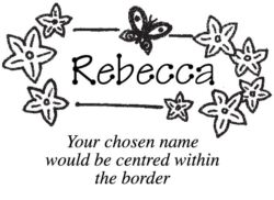 A name stamp with a flower and butterfly border C7
