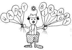 Clown with Birthday Balloons Q4131