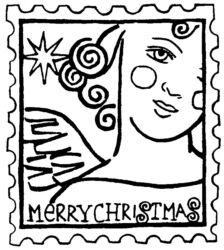 Angel stamp large R4851