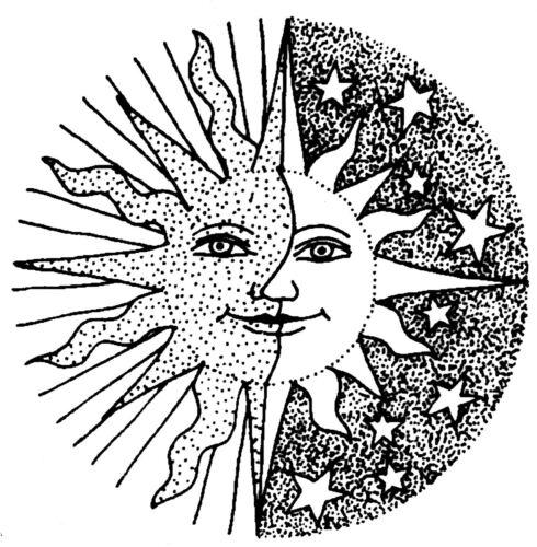 Half sun half moon drawing